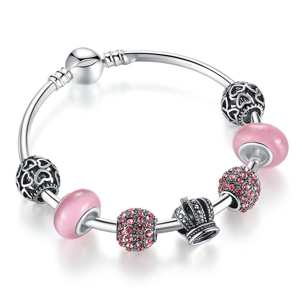 Silver Charm Bracelet with Open Your Heart, Crown & Pink Murano Glass Beads - DesignIN