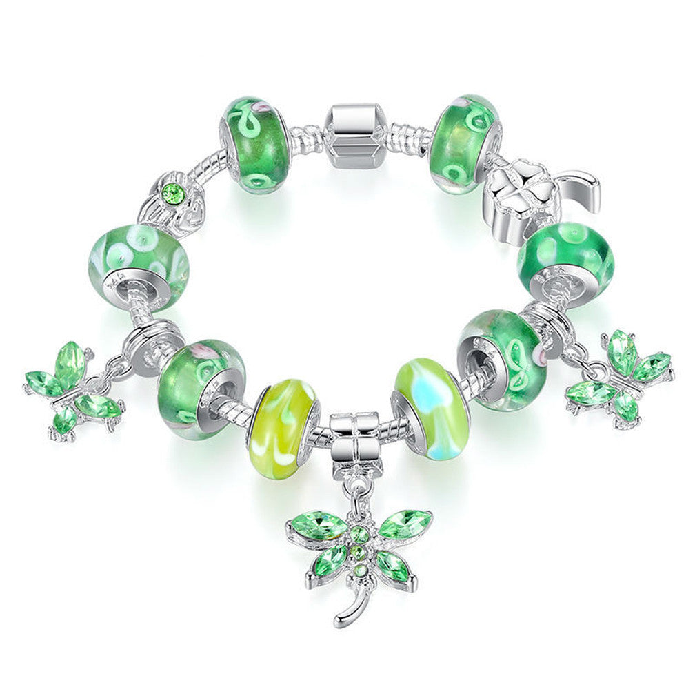 Silver Butterfly Charm Bracelet with High Quality Green Glass Beads - DesignIN