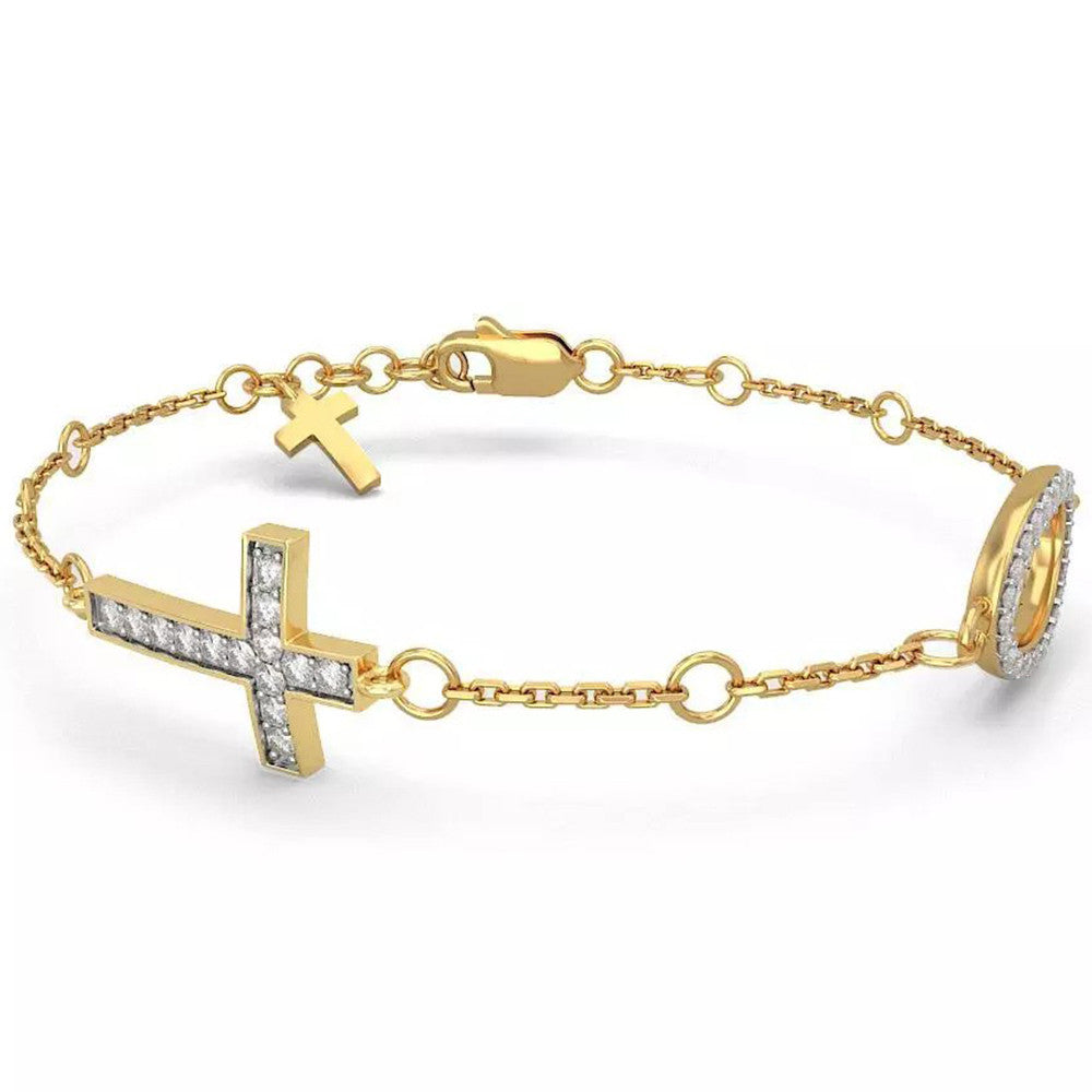 Solid 14K Yellow Gold Cross Design Real Natural Diamond Bracelet 0.336cttw