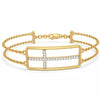 Solid 14K Yellow Gold Real Natural Diamond Cross Bracelet 0.2cttw