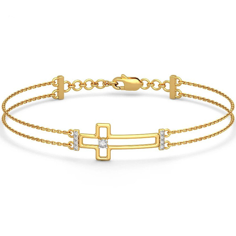 Genuine Solid 14K Yellow Gold Real Natural Diamonds Classic Cross Bracelet 0.17cttw - DesignIN