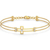 Genuine Solid 14K Yellow Gold Real Natural Diamonds Classic Cross Bracelet 0.17cttw