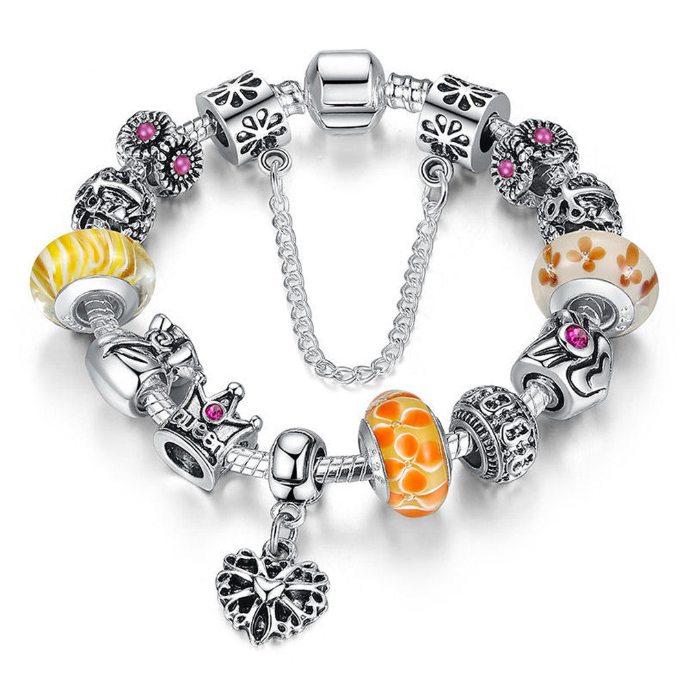 Charms Bracelet with Queens Crown Bead - Yellow - DesignIN