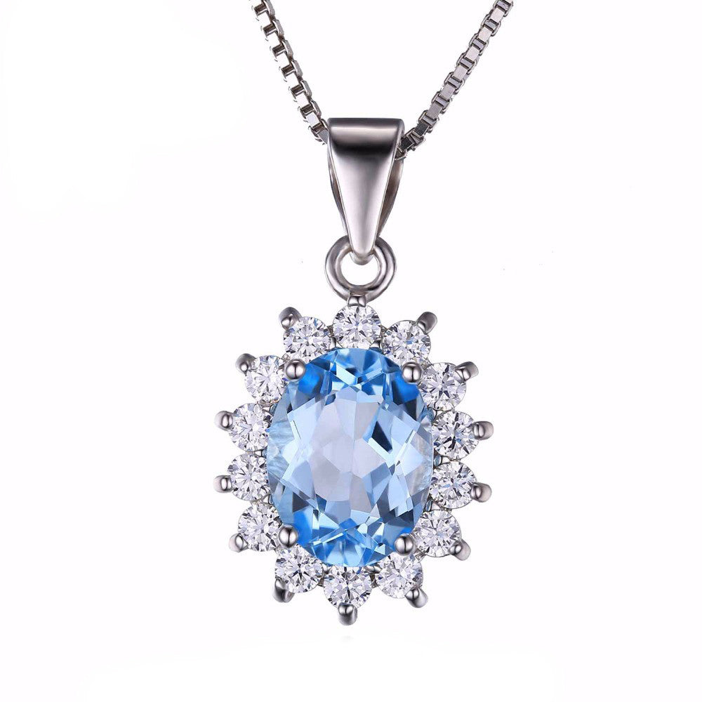 925 Sterling Silver 2.3ct Natural Blue Topaz Pendant Necklace with 18 cm Chain