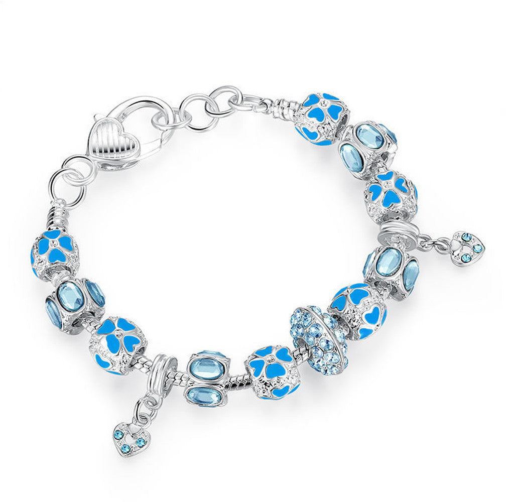 Silver Charm Bracelet with Blue Crystal Murano Glass Beads - DesignIN