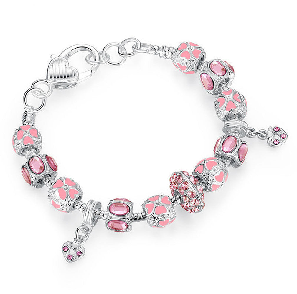 Silver Charm Bracelet with Pink Crystal Murano Glass Beads - DesignIN