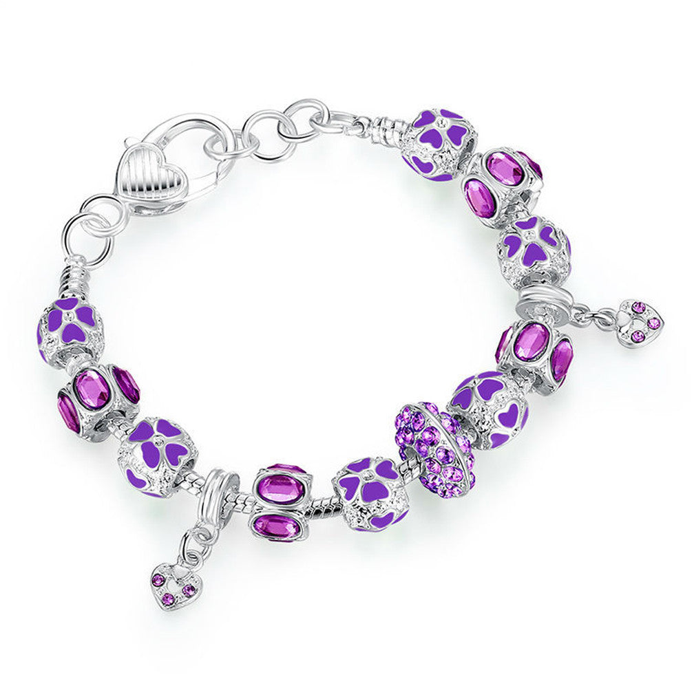Silver Charm Bracelet with Purple Crystal Murano Glass Beads - DesignIN