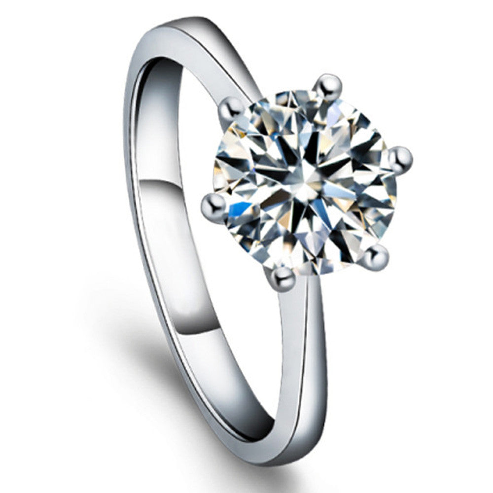White Gold Engagement Ring with Brilliant 1CT Round Cut Simulated Diamond - DesignIN
