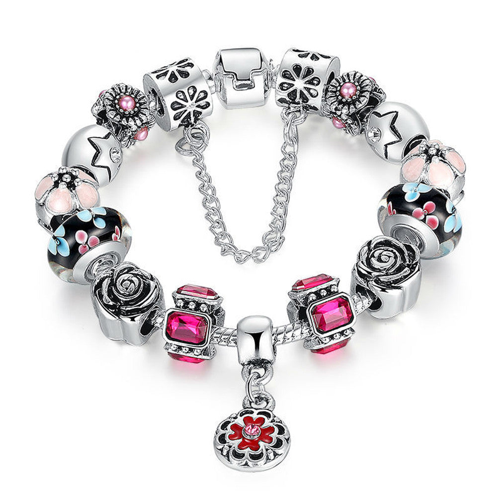 Silver Glass Bead Rhinestones Charm Bracelet with Safety Chain - Multi - DesignIN