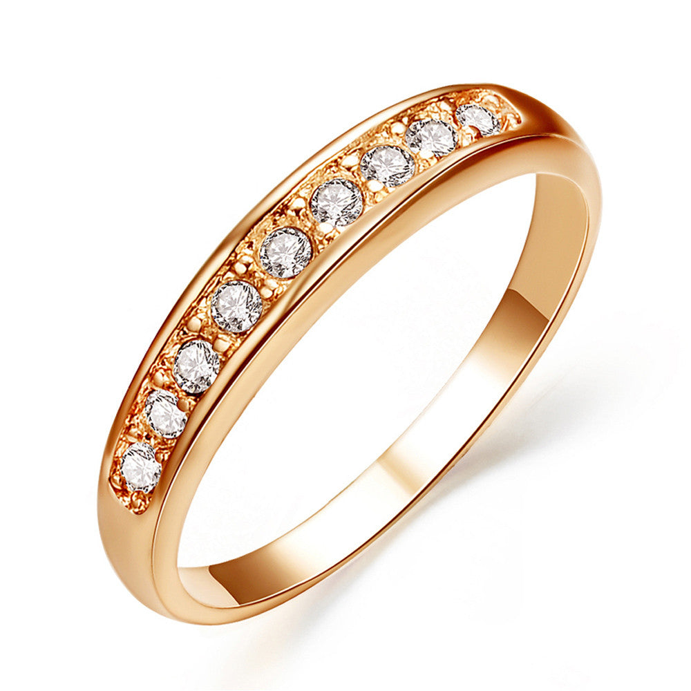 Rose Gold Plated 9 Rhinestones Studded Eternity Wedding Ring - DesignIN