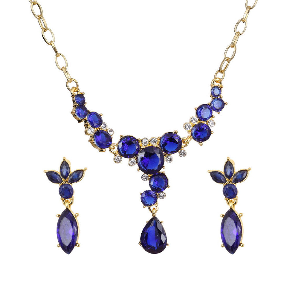 18k Gold plated Blue AAA+ Austrian Crystal Flower Drop Pendant Necklace Earrings Jewelry Set - DesignIN