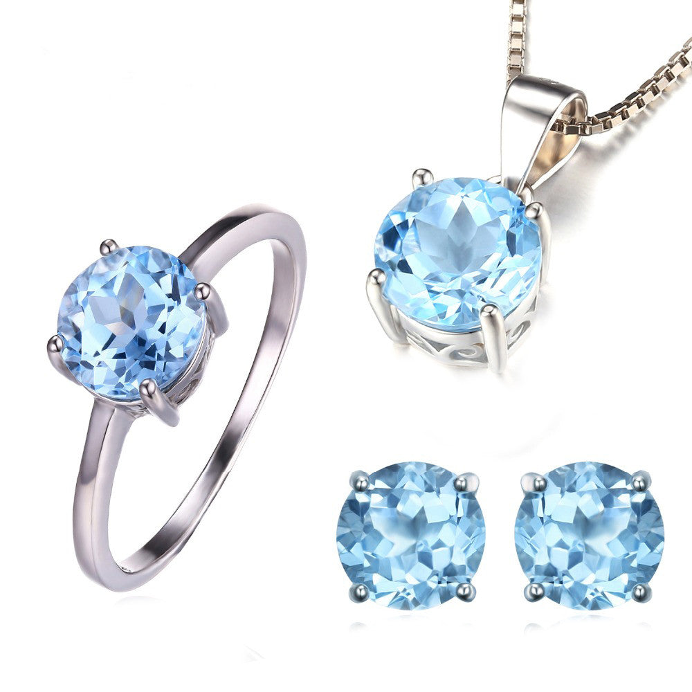 925 Solid Sterling Silver 6ct Natural Blue Topaz Ring Earrings Pendant Necklace Jewelry Set - DesignIN