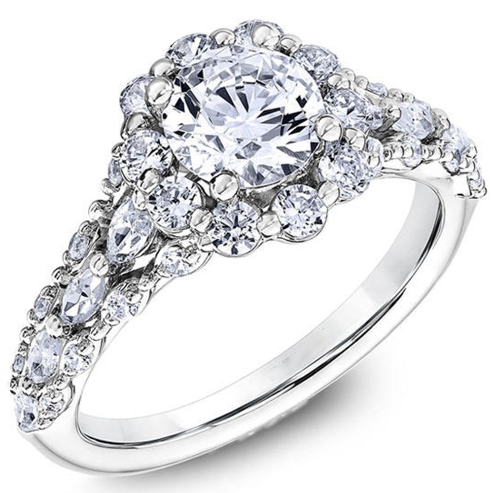 1 Carat Moissanite 14K White Gold Classic Engagement Ring - DesignIN