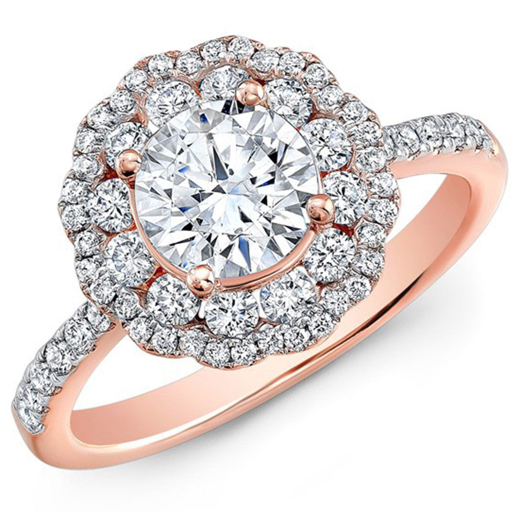 1 Carat Moissanite Engagement Ring 14K Solid Rose Gold Double Halo Lab Grown Diamond Engagement Ring - DesignIN