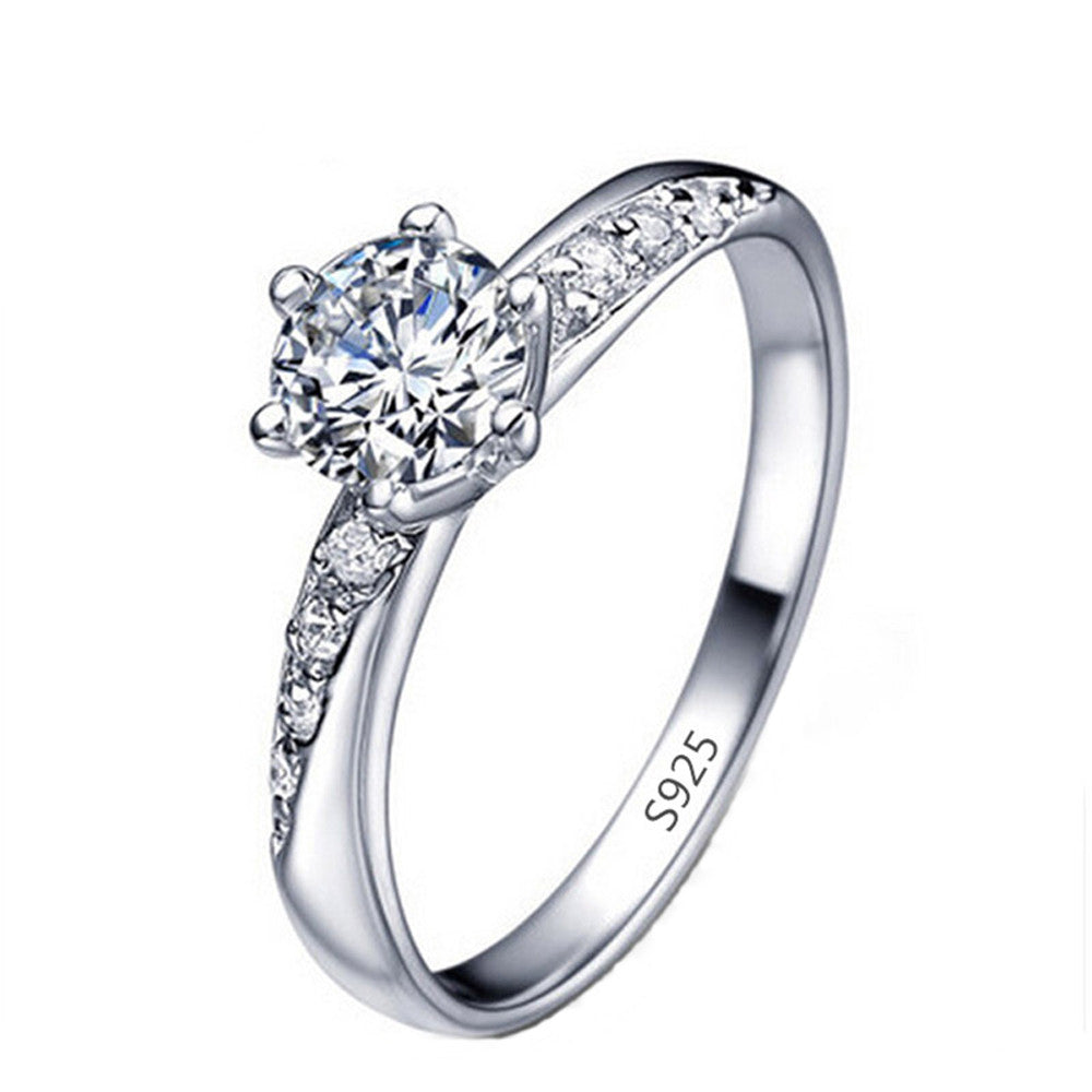 Classic White Gold Plated Engagement Ring with AAA Cubic Zirconia - DesignIN