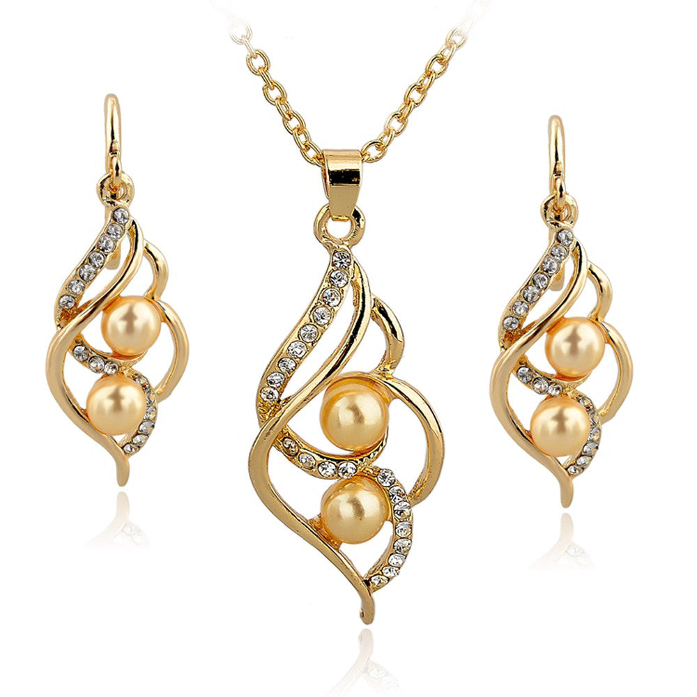 Emelie Jewelry Set 18k Gold Plated Cubic Zircons Pearl Earrings & Necklace Set - Gold Pearls - DesignIN
