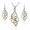 Emelie Jewelry Set Silver Plated Cubic Zircons Pearl Earrings & Necklace Set - Gold Pearls - DesignIN