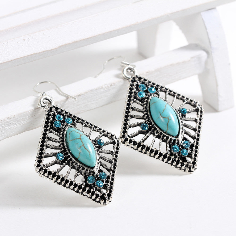 Tibetan Silver Earrings with Natural Turquoise and AAA+ Austrian Crystals - DesignIN