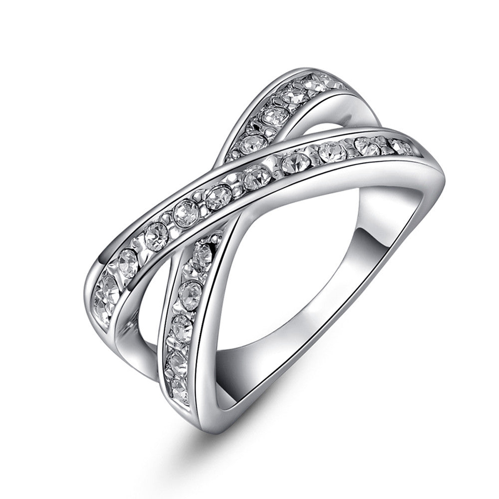 White Gold Plated AAA Austrian Crystal X Ring - DesignIN
