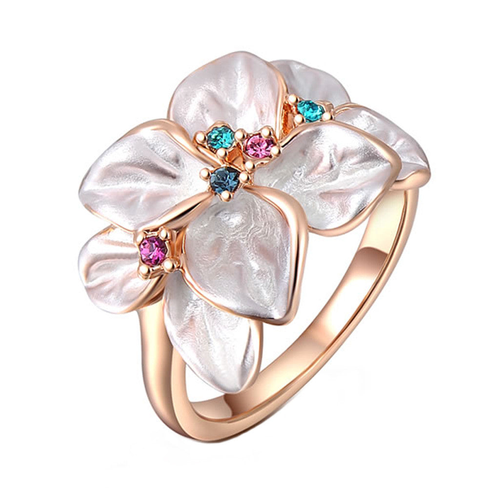 Rose Gold Plated Flower Cocktail Ring with AAA Austrian Crystals - DesignIN