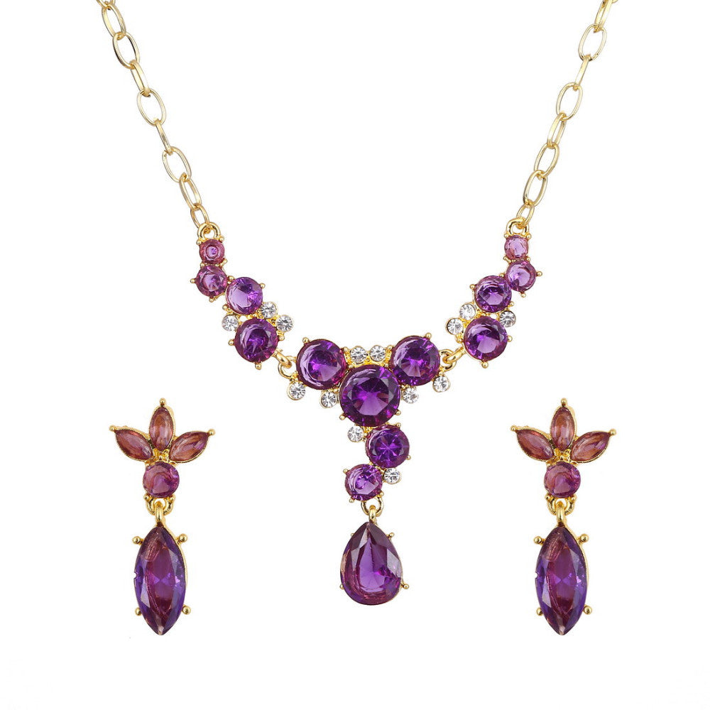 18k Gold plated Purple AAA+ Austrian Crystal Flower Drop Pendant Necklace Earrings Jewelry Set - DesignIN