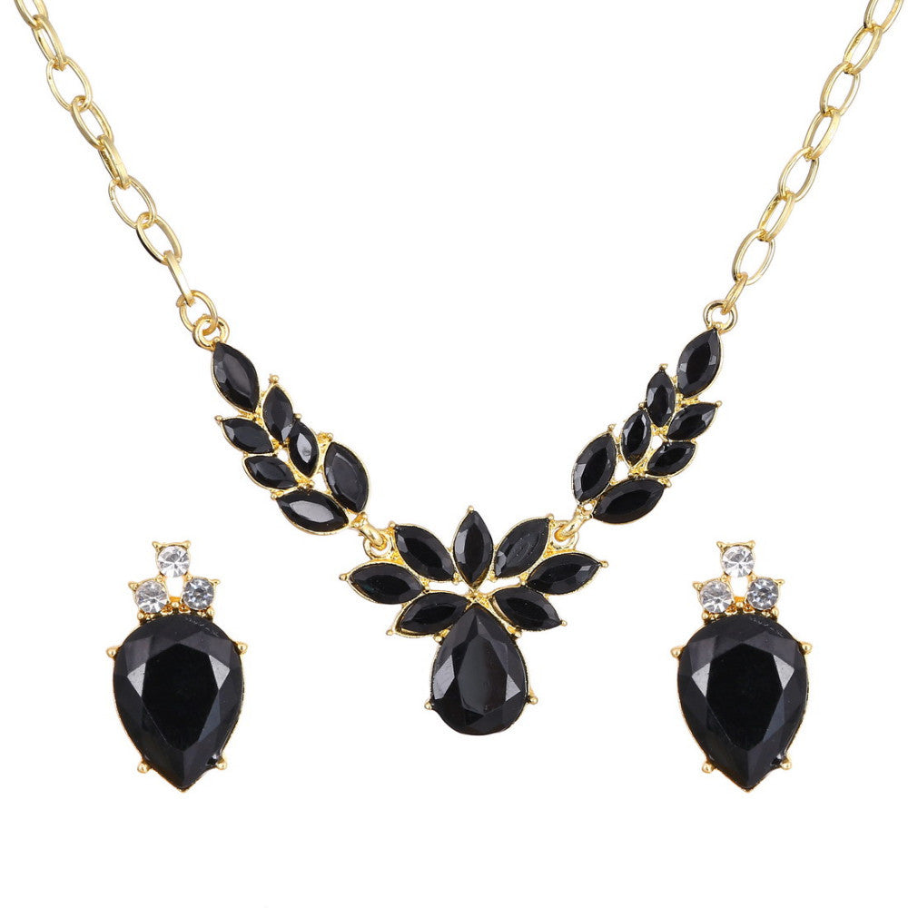 18k Gold Plated Leaves Flower Design 18K Gold Plated Black AAA+ Austrian Crystal Jewelry Set - DesignIN