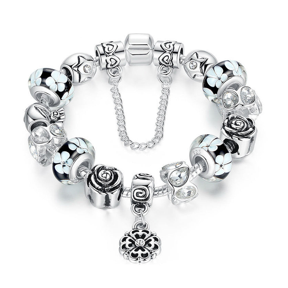 Silver Flower Glass Bead with Safety Chain Charm Bracelet - Black - DesignIN