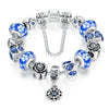 Silver Flower Glass Bead with Safety Chain Charm Bracelet - Blue - DesignIN