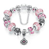 Silver Flower Glass Bead with Safety Chain Charm Bracelet - Pink - DesignIN