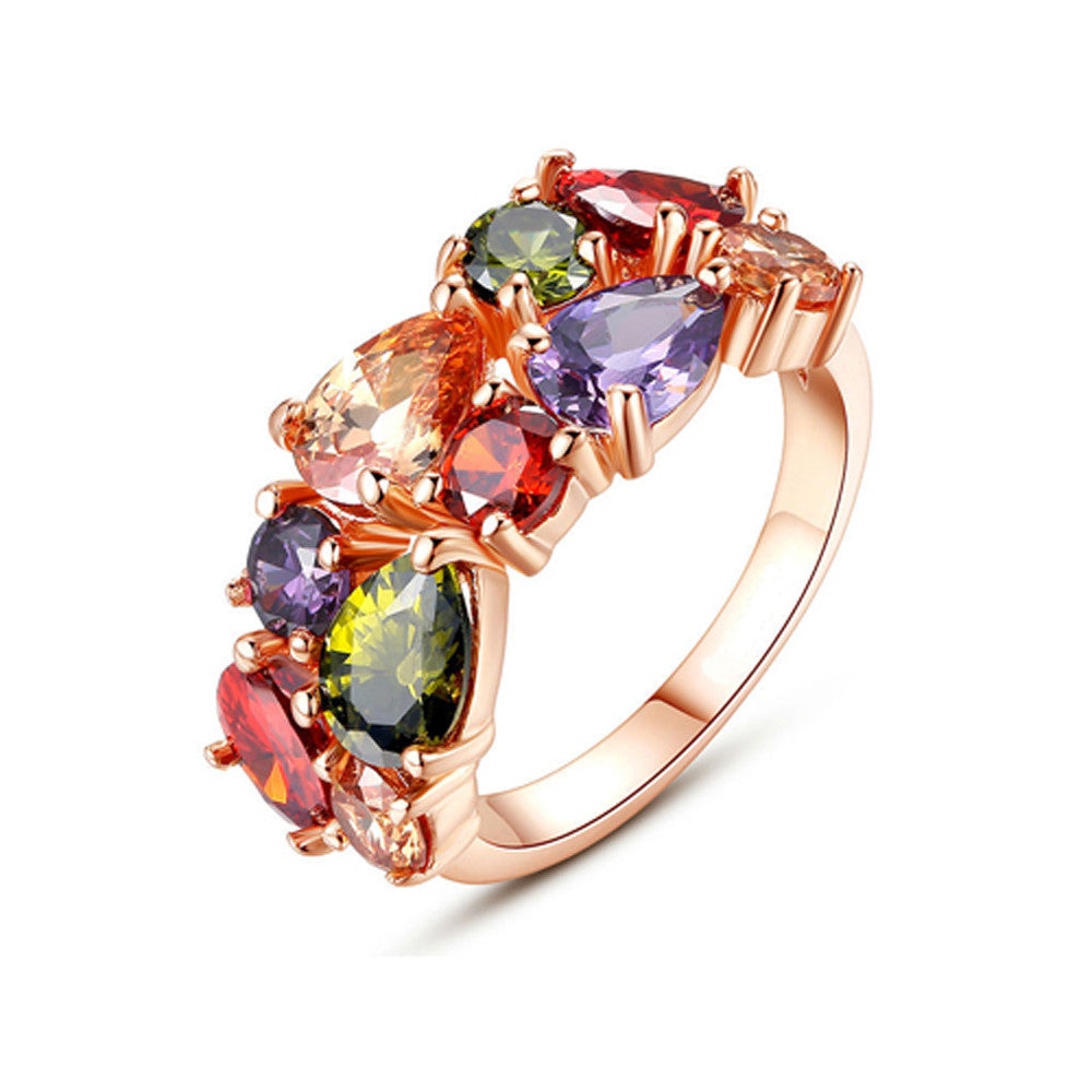 18K Gold Plated Ring with AAA Colorful Cubic Zircons - DesignIN
