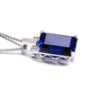 Blue Sapphire 9.1ct Created Emerald Cut Solid 925 Sterling Silver Pendant Necklace