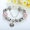 Silver Light Pink Murano Glass Bead Charm Bracelet with Letter Beads & Safety Chain - DesignIN