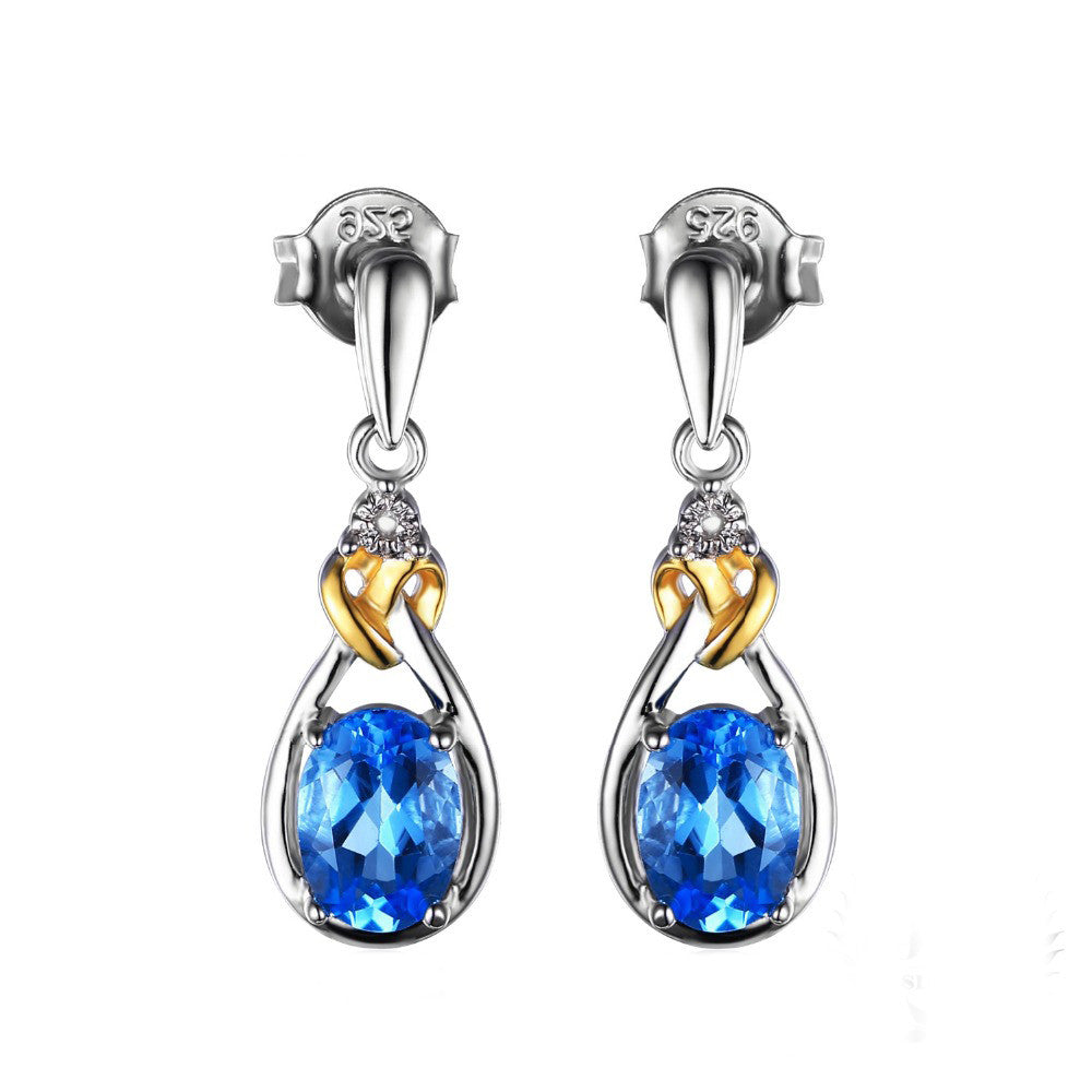 925 Sterling Silver 18K Gold Love Knot 1.9ct Natural Blue Topaz Diamond Accented Dangle Earrings - DesignIN