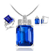 925 Sterling Silver Blue Sapphire Jewelry Set Ring Pendant Necklace - DesignIN