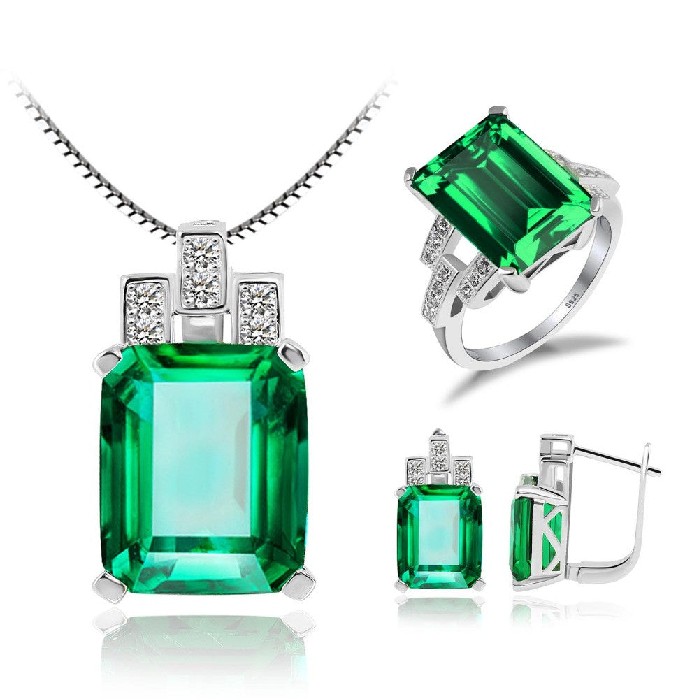 925 Sterling Silver Created Green Emerald Jewelry Set Ring Pendant Necklace - DesignIN