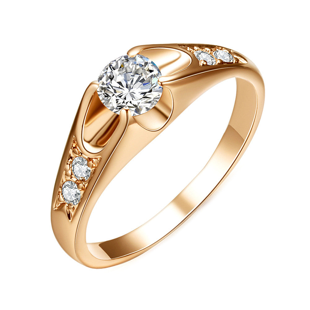 Rose Gold Plated 0.5ct Cubic Zirconia Ring - DesignIN