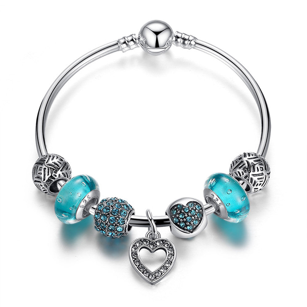 Silver Plated Heart Pendant Bracelets with Blue Beads - DesignIN