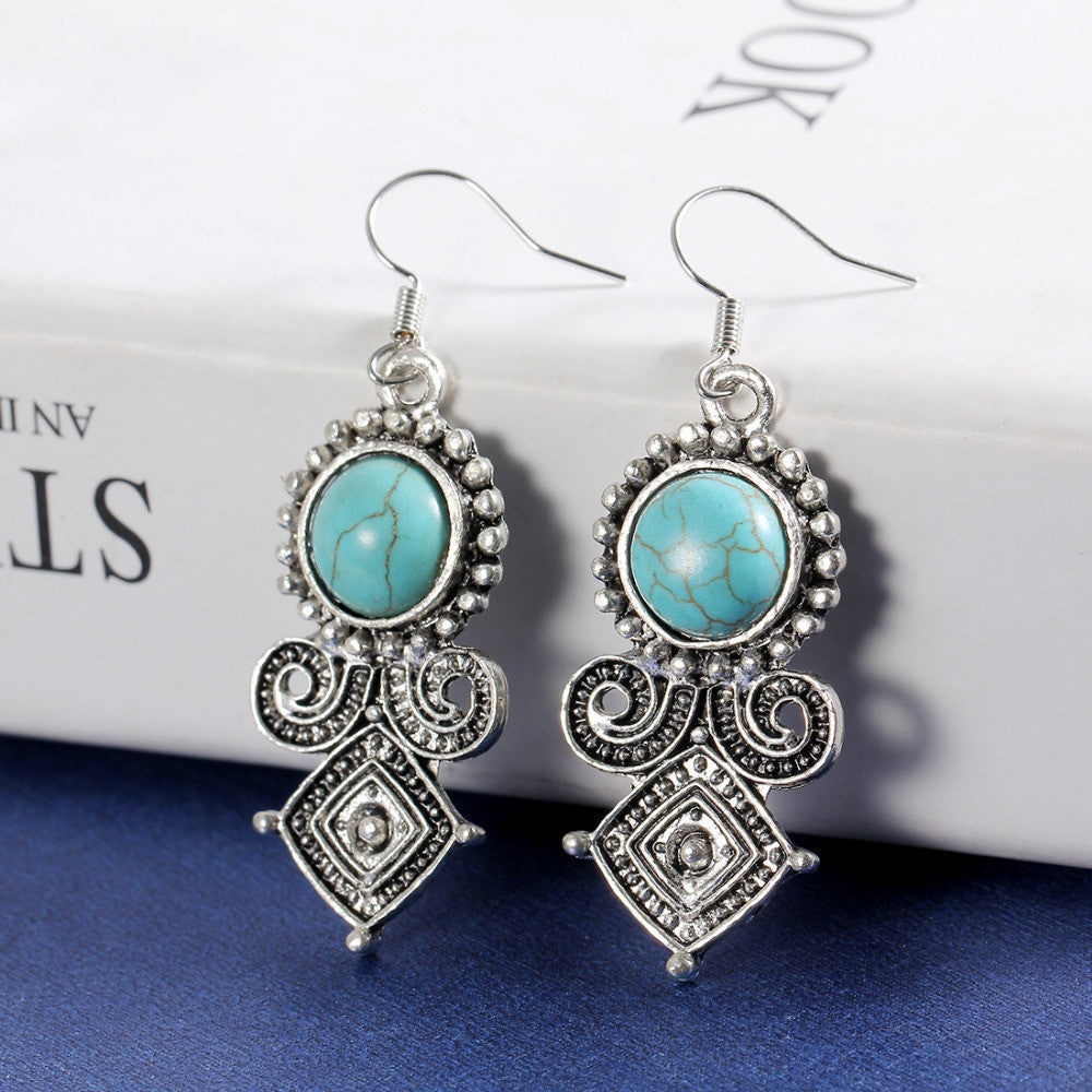 Tibetan Silver Turquoise Earrings with Austrian Crystals - DesignIN