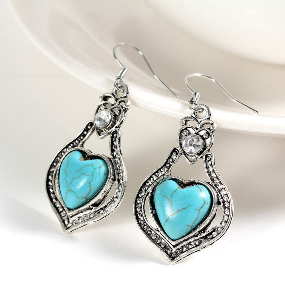 Tibetan Silver Heart Turquoise AAA Austrian Crystal Drop Earrings - DesignIN