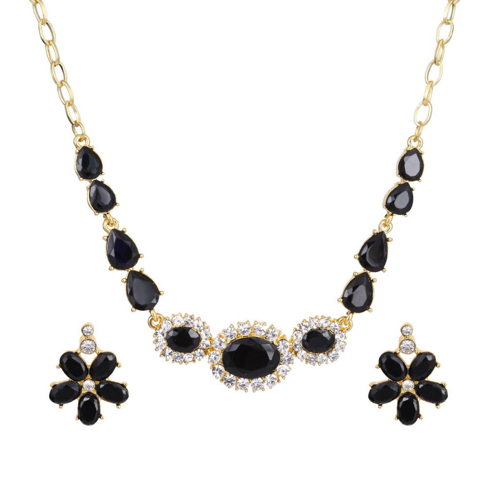 Classic Flower Design 18K Gold Plated Black AAA+ Austrian Crystal Jewelry Set - DesignIN