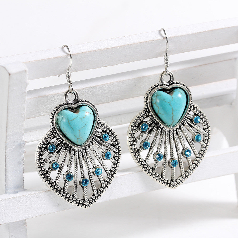 Tibetan Silver Natural Turquoise Heart Drop Earrings with AAA Austrian Crystals - DesignIN