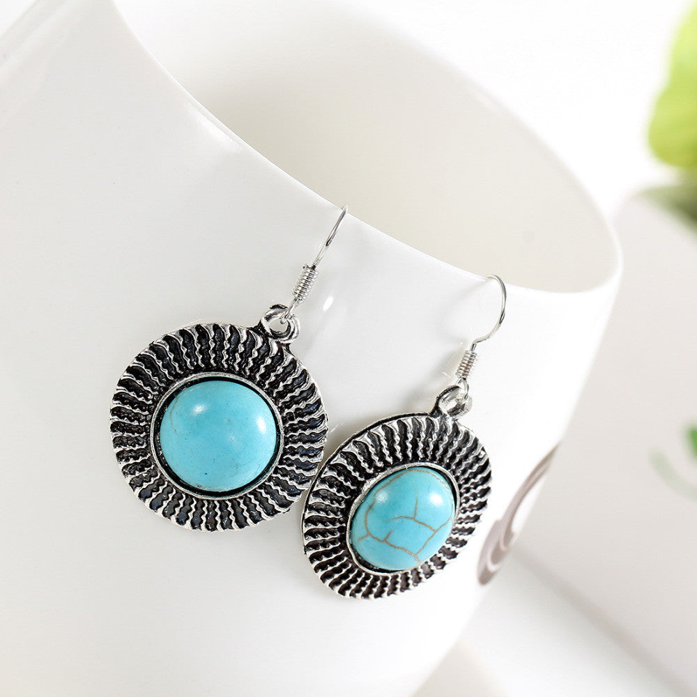 Tibetan Silver Natural Turquoise Drop Earrings - DesignIN