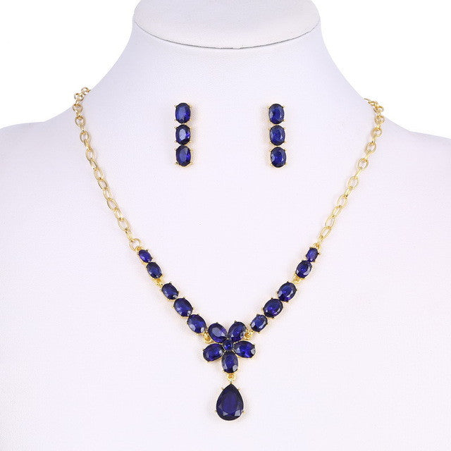 Classic 18k Gold Plated Jewelry Set with Blue AAA+ Austrian Crystals - Necklace & Earrings - DesignIN