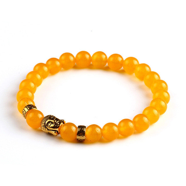 Tiger Eye Buddha Beads Natural Stone Elastic Rope Chain Unisex Bracelet - DesignIN