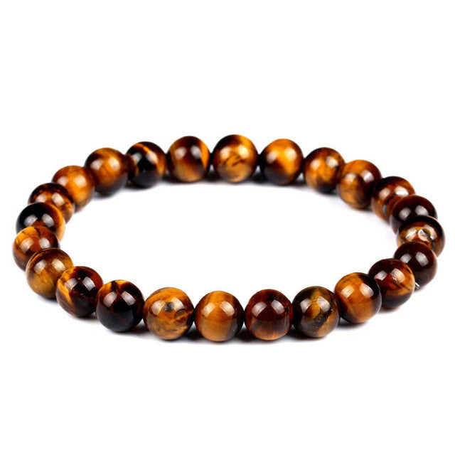Tiger Eye Natural Stone Buddha Lava Rope Chain Bracelet 12 Colors - DesignIN
