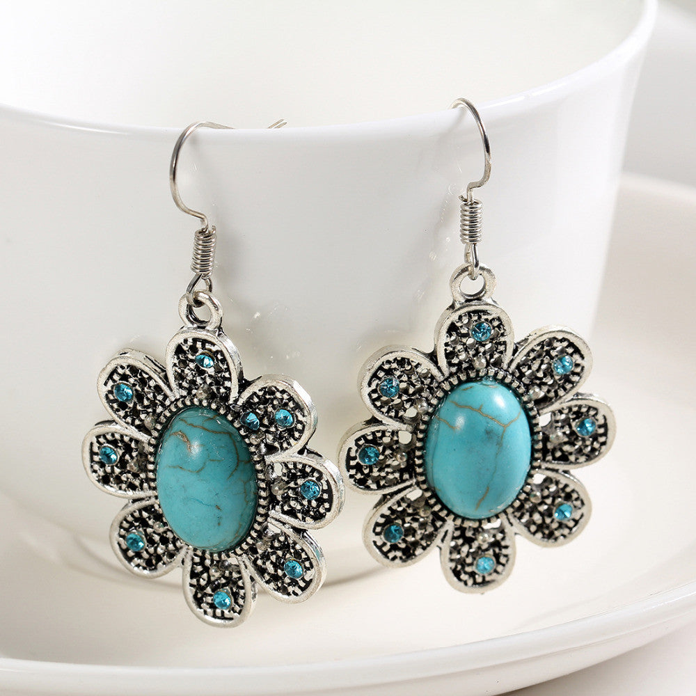 Natural Turquoise Tibetan Silver Drop Earrings with AAA Austrian Crystals - DesignIN