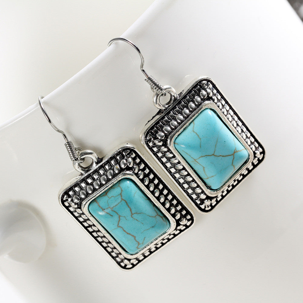 Tibetan Silver Natural Turquoise Square Earrings - DesignIN