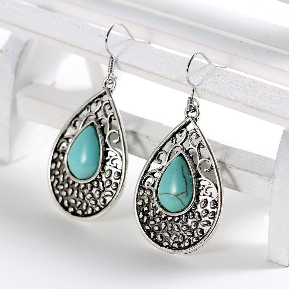 Tibetan Silver Natural Turquoise Scroll Drop Earrings - DesignIN
