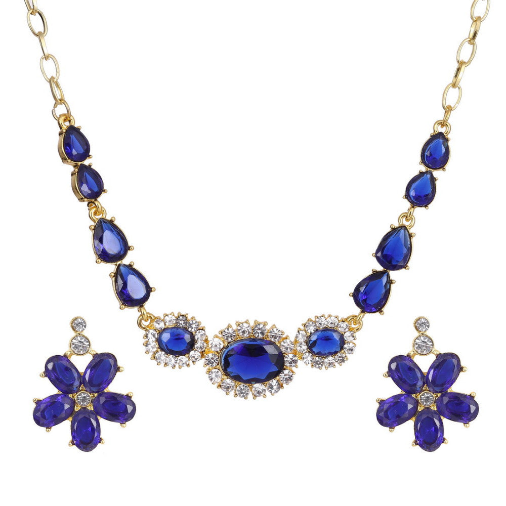 Classic Flower Design 18K Gold Plated Purple AAA+ Austrian Crystal Jewelry Set - DesignIN