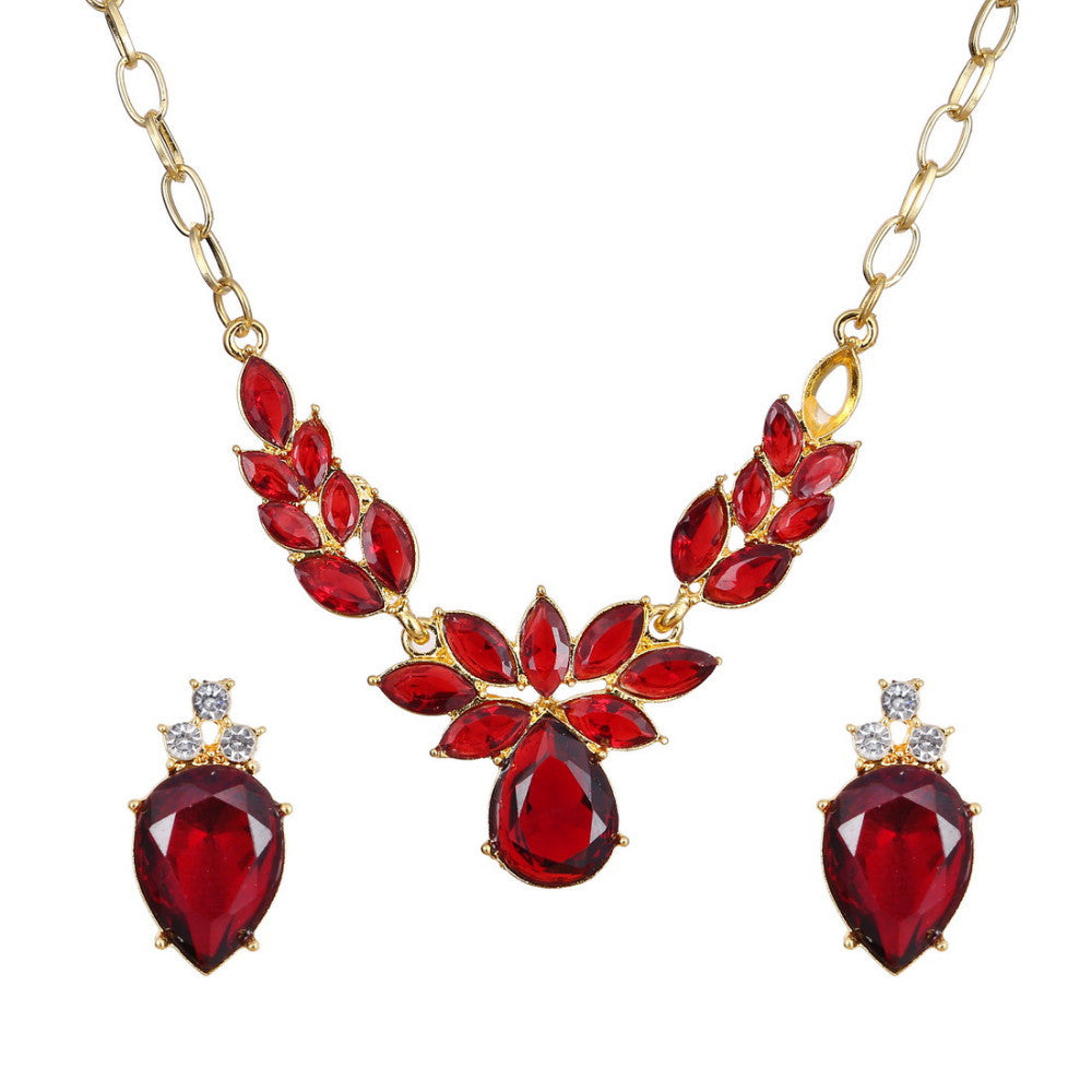 18k Gold Plated Leaves Flower Design 18K Gold Plated Red AAA+ Austrian Crystal Jewelry Set - DesignIN